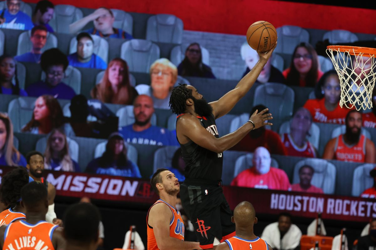 James Harden of the Houston Rockets shoots the ball against the Oklahoma City Thunder during Round One, Game One of the NBA Playoffs on August 18, 2020 at The Field House in Orlando, Florida.