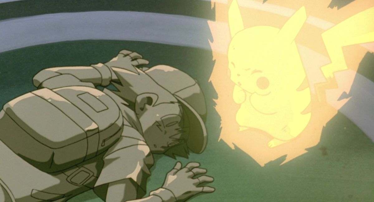 pikachu and ash statue in pokemon the first movie