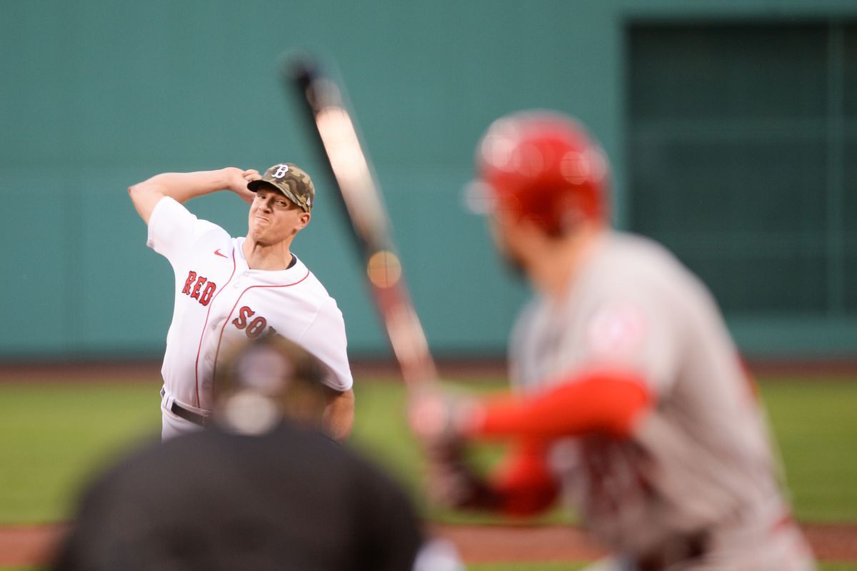 Nick Pivetta #37 of the Boston Red Sox pitches in the second inning against the Los Angeles Angels at Fenway Park on May 14, 2021 in Boston, Massachusetts.