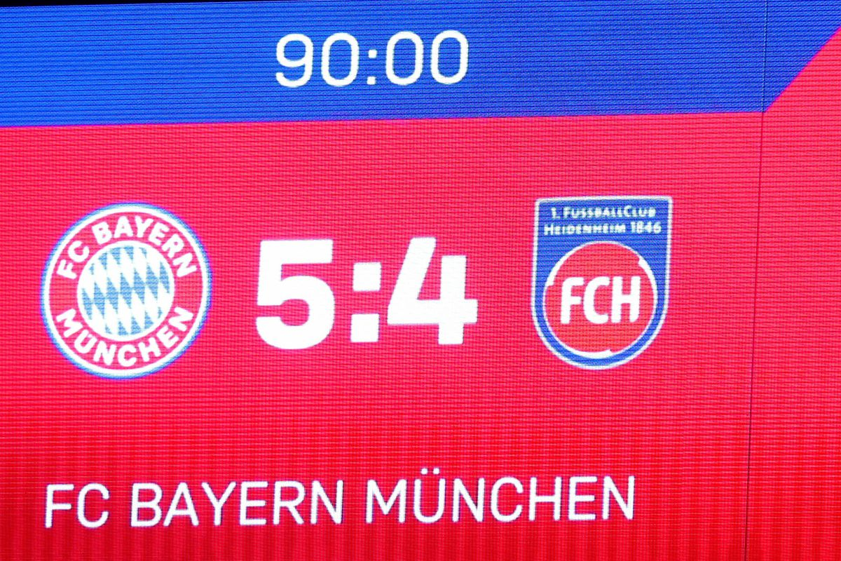 MUNICH, GERMANY - APRIL 03: Scoreboard is seen after the DFB Cup match between Bayern Muenchen and 1. FC Heidenheim at Allianz Arena on April 03, 2019 in Munich, Germany.
