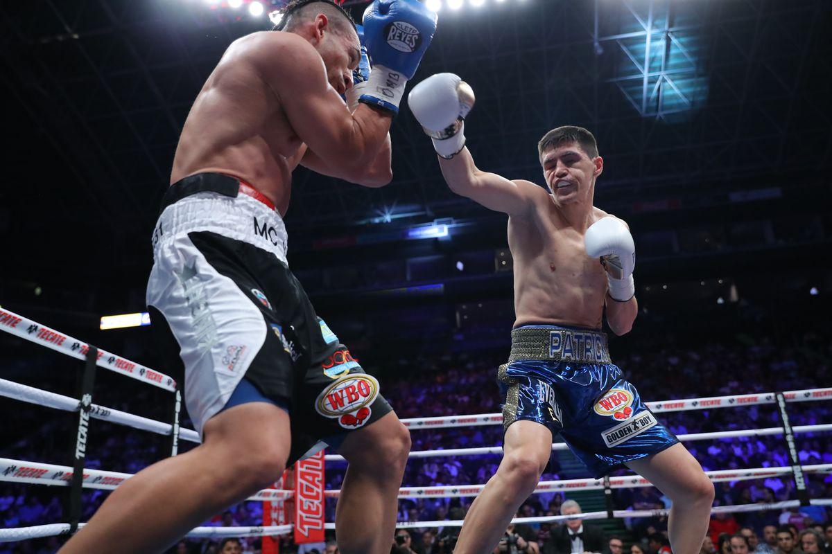 Patrick Teixeira (R) fights Mario Lozano (L) on April 13 at Arena Monterrey in Monterrey Mexico.