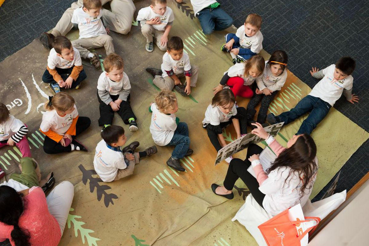 Preschools learn vocabulary words at the Indianapolis Children's Museum.