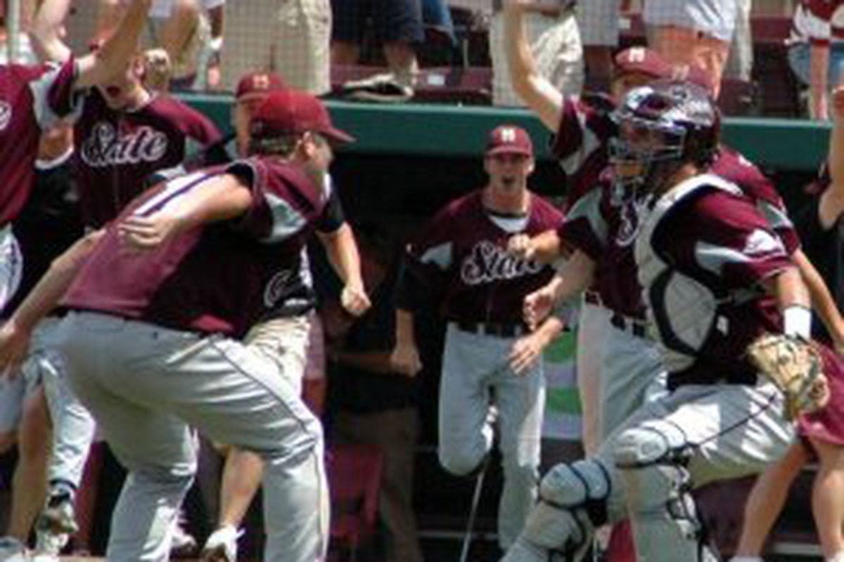 MItch Moreland and the team celebrate their win sending them to Omaha for the eighth time