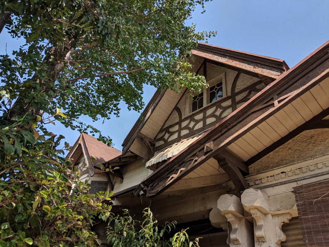 An up-close photo of the eaves and roofline of the home, with a large mature tree growing up around it.