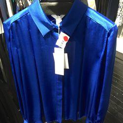Cobalt silk top, $50