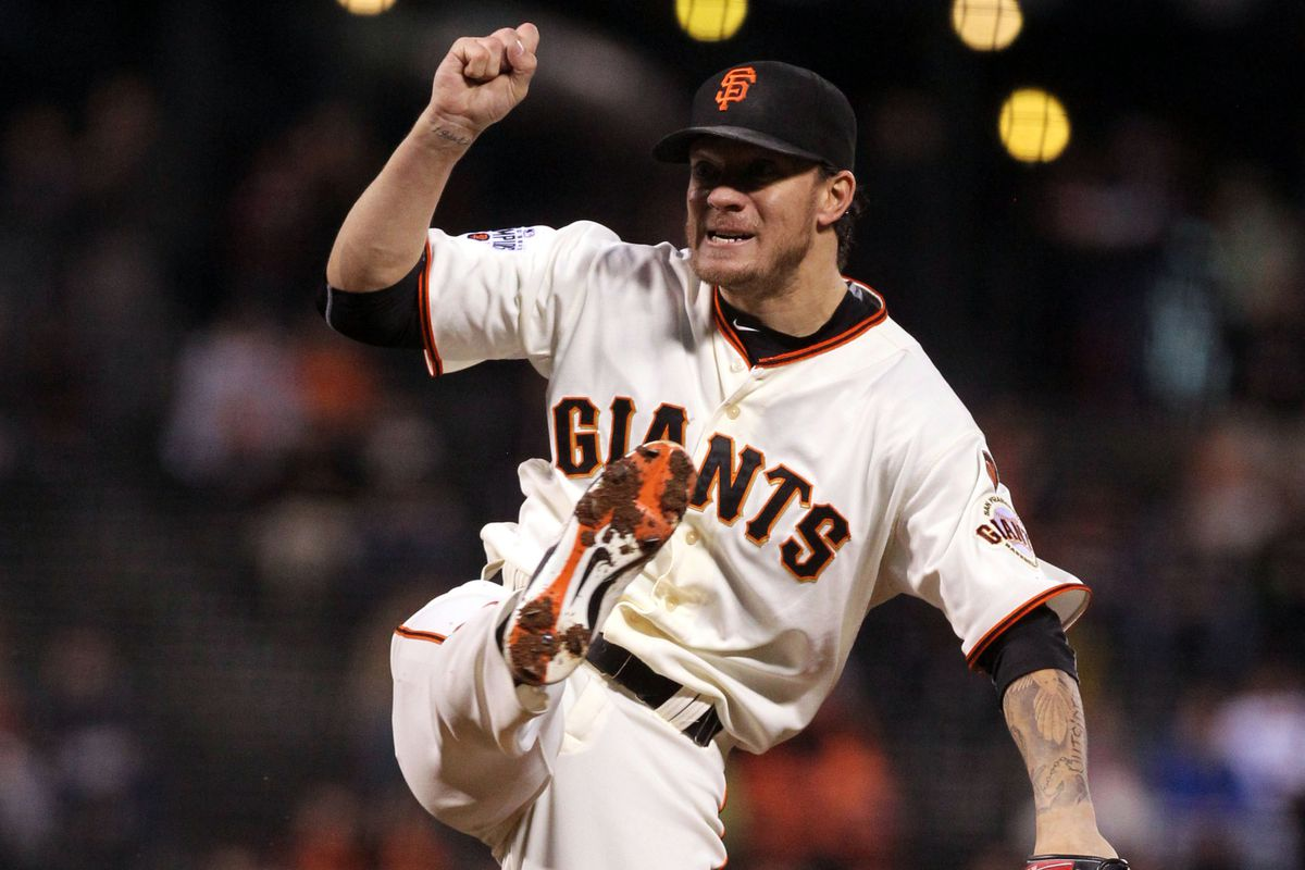 Jake Peavy swings at Collin Balester's 1-2 pitch which becomes his first home run in nine years.