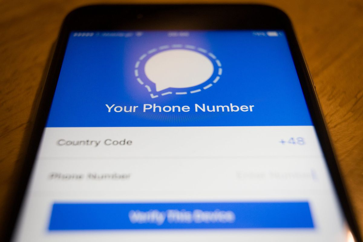 The Signal app allows users to send encrypted messages.