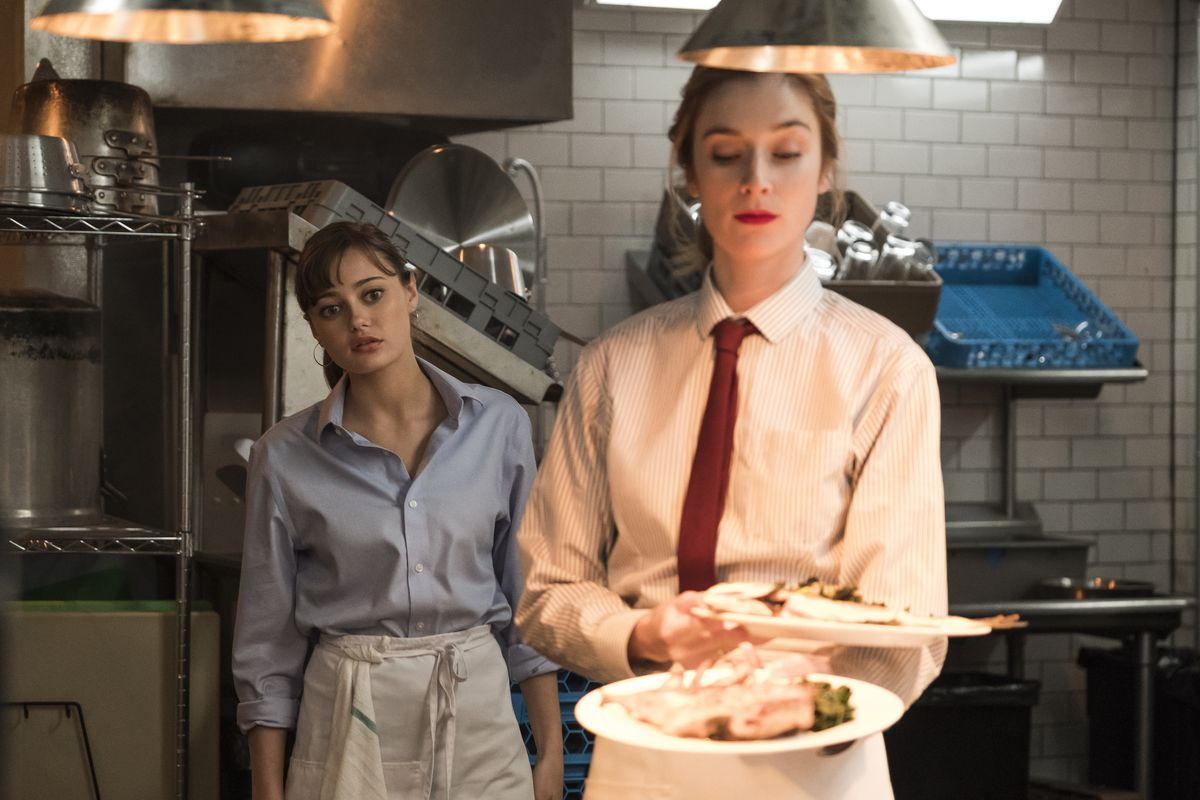 Ella Purnell and Caitlin FitzGerald in Starz's Sweetbitter