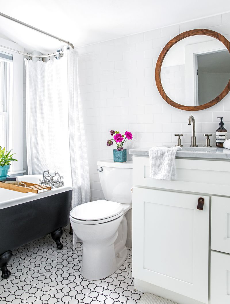a Cape Cod-style remodel in Cumberland Foreside, ME, upstairs bathroom