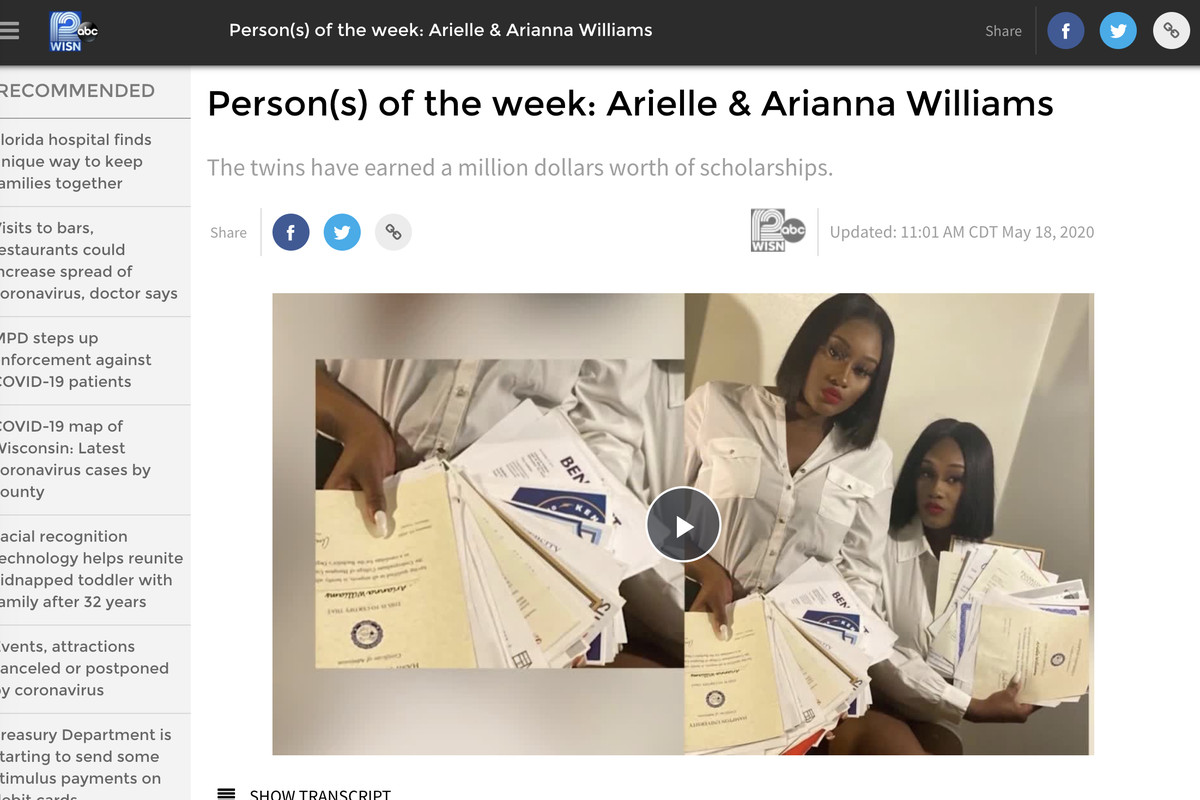 The twin sisters — Arielle and Arianna Williams — graduated from Dr. Howard Fuller Collegiate Academy in Milwaukee. The sisters earned more than $1 million in scholarships for their efforts, according to WISN-TV in Milwaukee.