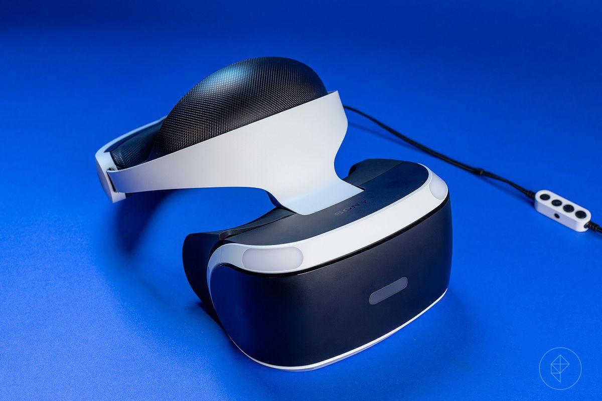 PlayStation VR on blue background