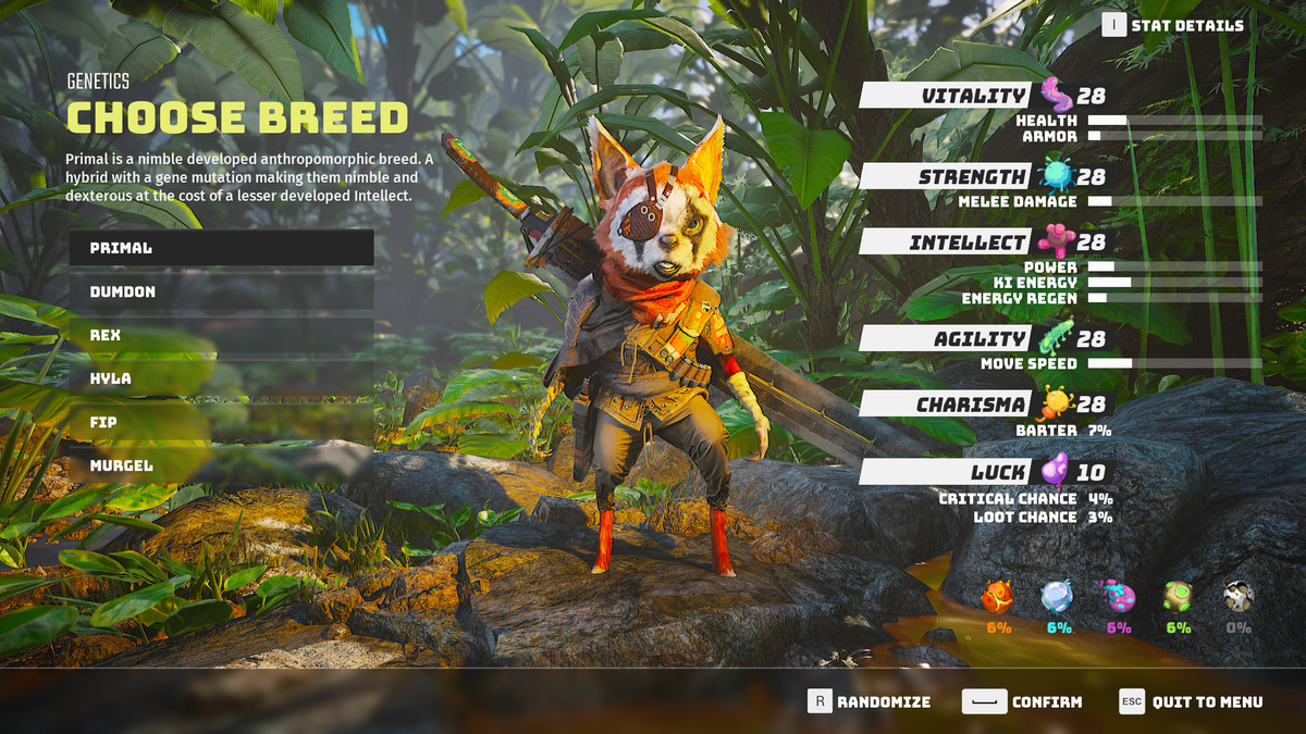 Biomutant guide: character creation, attributes, and stats