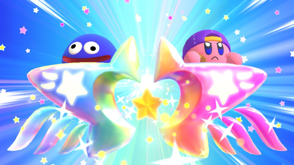 Kirby and a blue slime ride a colorful star