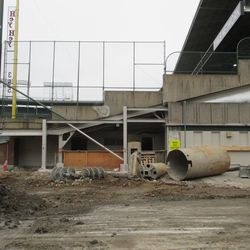 The end of the left-field grandstand along Waveland
