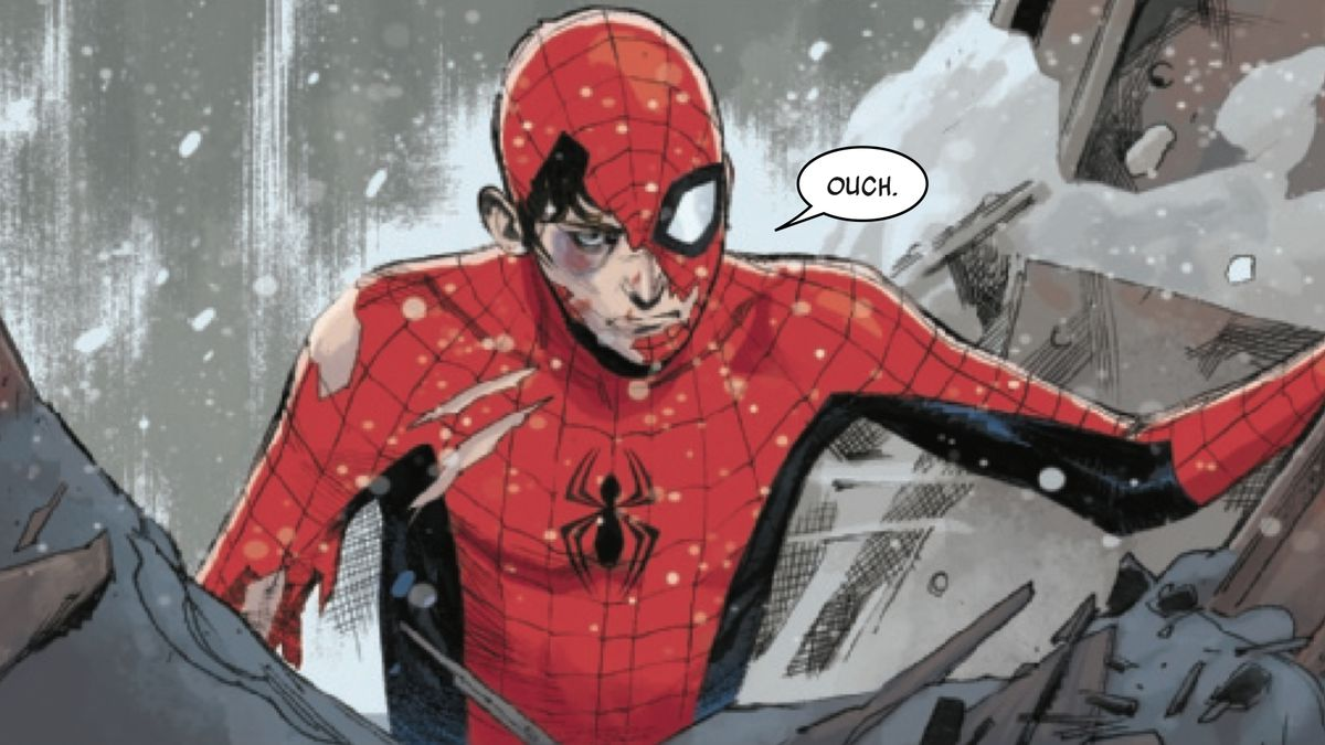 """Spider-Man, suit torn and face exposed, lifts up a metal beam and says """"ouch"""" in spider-man #1"""