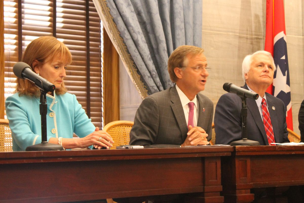 Gov. Bill Haslam, flanked by House Speaker Beth Harwell and Lt. Gov. Ron Ramsey, discuss the business of the 109th Tennessee General Assembly, which came to a close on Wednesday.