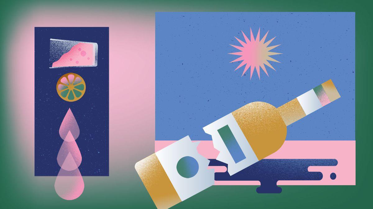 An illustration with a broken liquor bottle