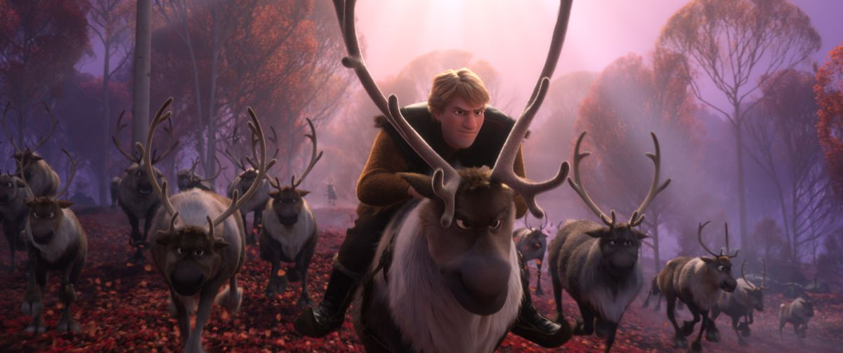 """A busy Kristoff (voice of Jonathan Groff) just can't seem to find the right moment to pop the question to Anna in """"Frozen 2."""""""