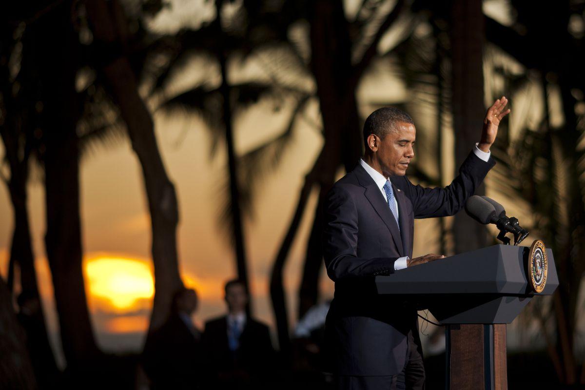 President Barack Obama speaks in Hawaii.