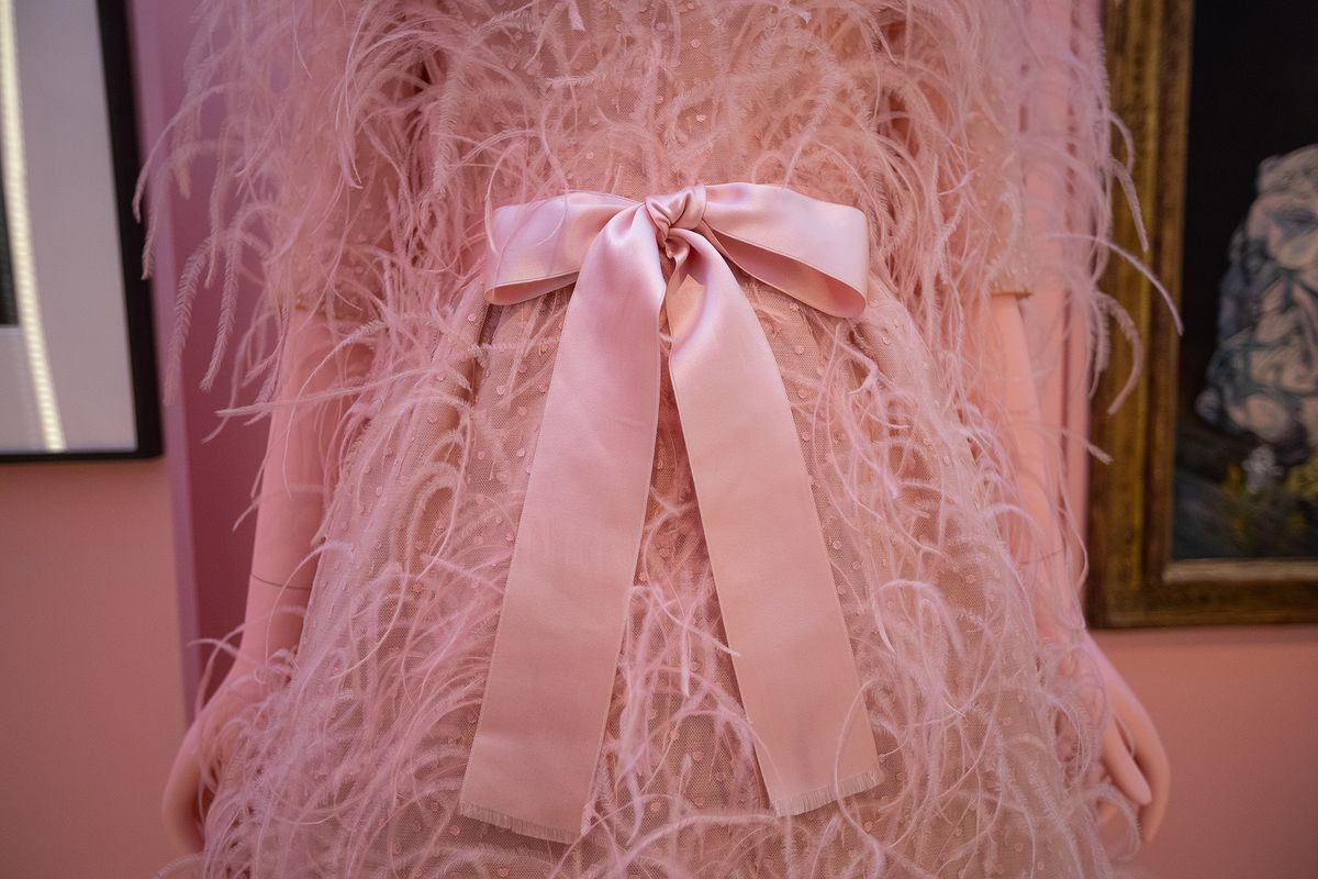 A feathered blush pink dress with a large satin bow at the waist.