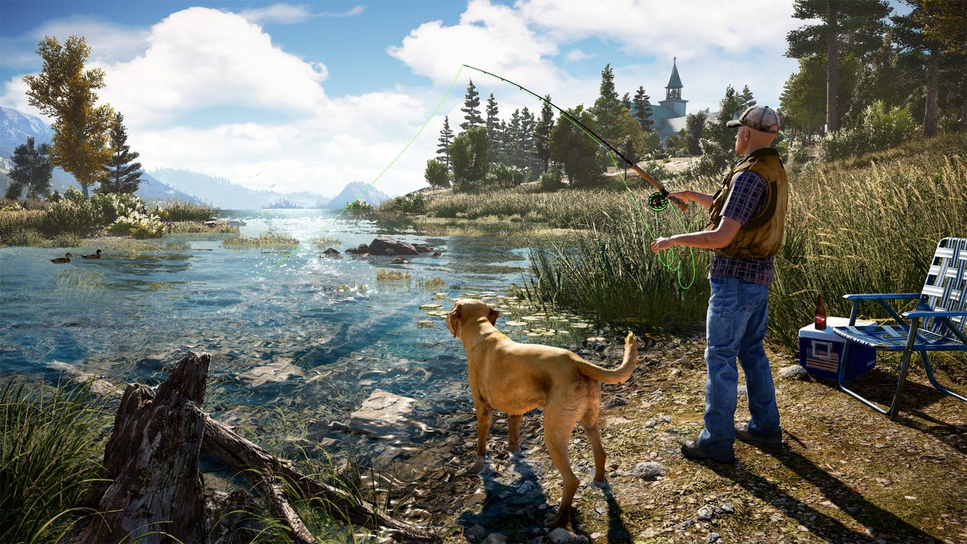 Far Cry 5 - a man fishing with a canine companion at his side