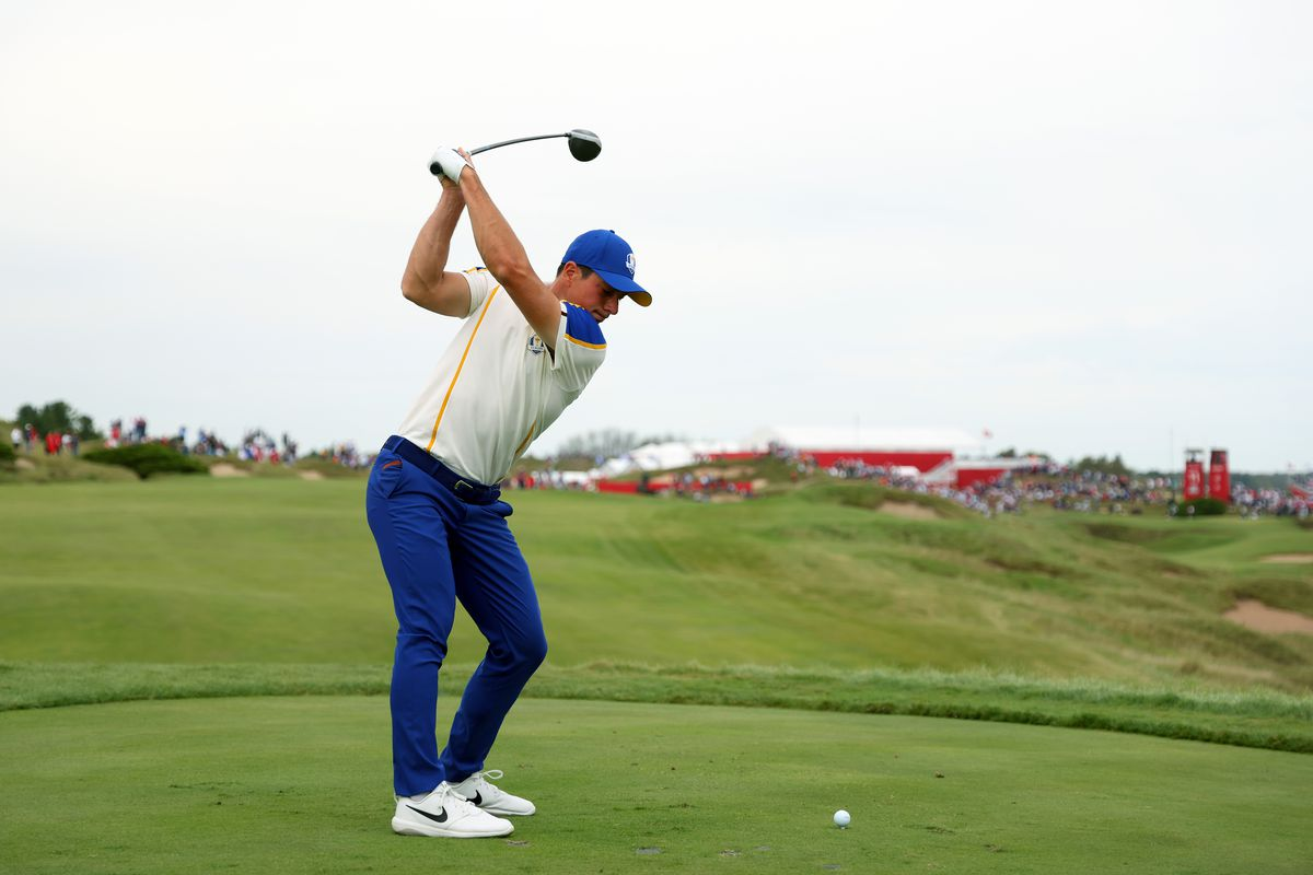 Viktor Hovland of Norway and team Europe plays his shot from the 11th tee during Sunday Singles Matches of the 43rd Ryder Cup at Whistling Straits on September 26, 2021 in Kohler, Wisconsin.