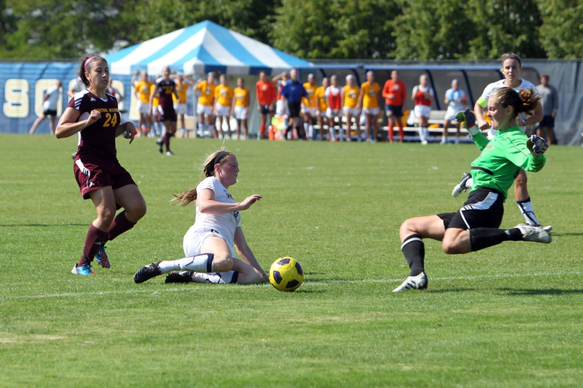 A second earlier, and Maegan Kelly puts this past the Central Michigan keeper for a golden goal near the end of the first overtime. Kelly has yet to score a goal this season.