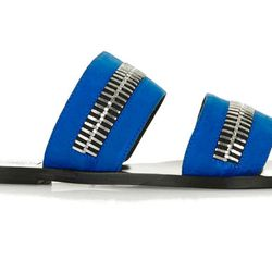 The zippers and bold blue color of these slides give off a more edgy look.