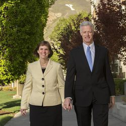 New BYU President Kevin Worthen and his wife Peggy walk on campus in this April 29, 2014, portrait.