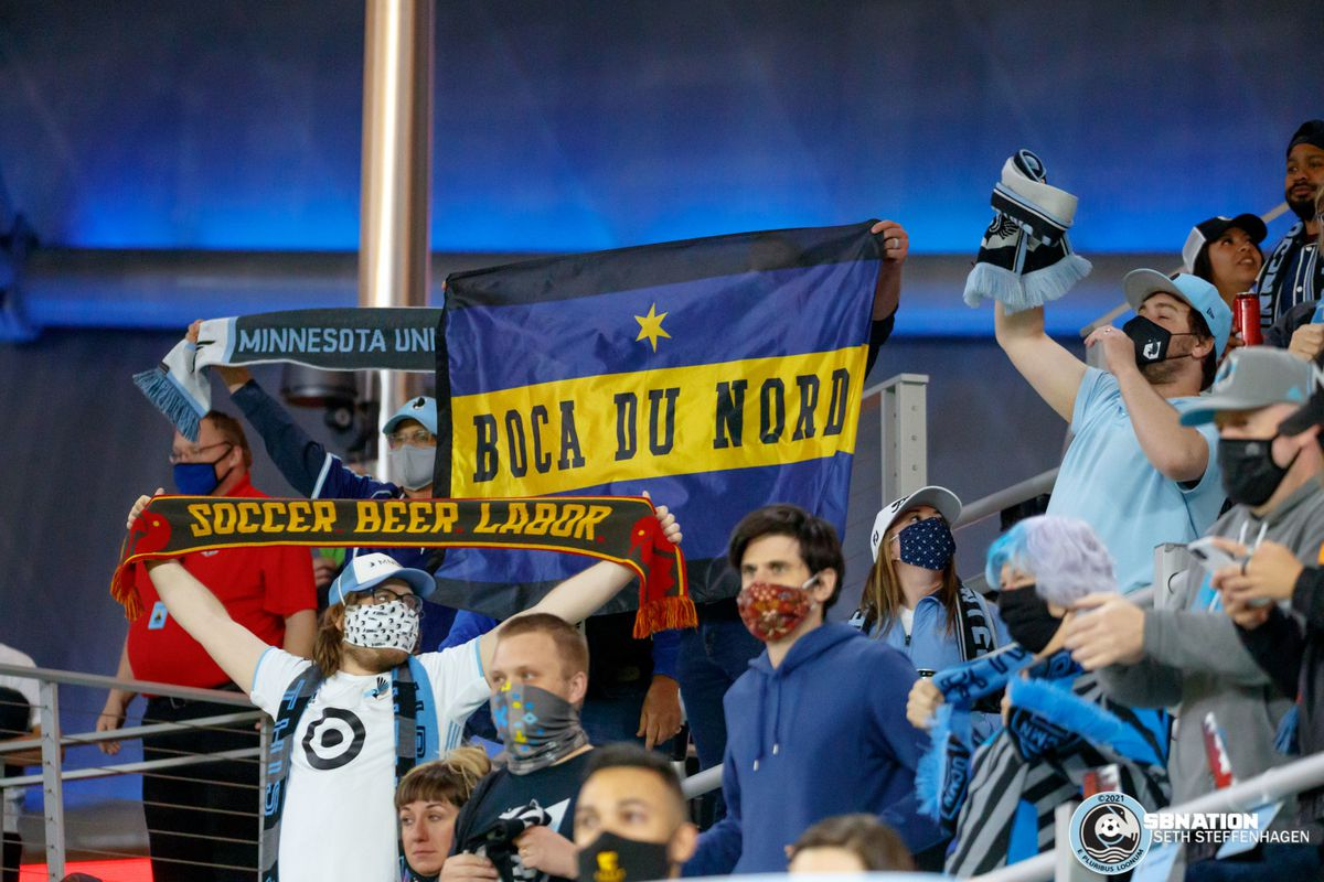 May 12, 2021 - Saint Paul, Minnesota, United States - Fans in The Wonderwall cheer on Minnesota United as they play the Vancouver Whitecaps at Allianz Field. (Photo by Seth Steffenhagen/Steffenhagen Photography)