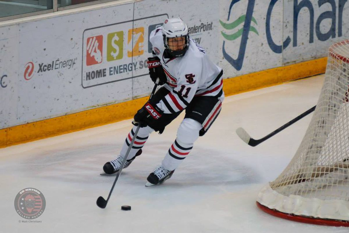 Kalle Kossila scored the opening goal for St. Cloud State on Sunday.