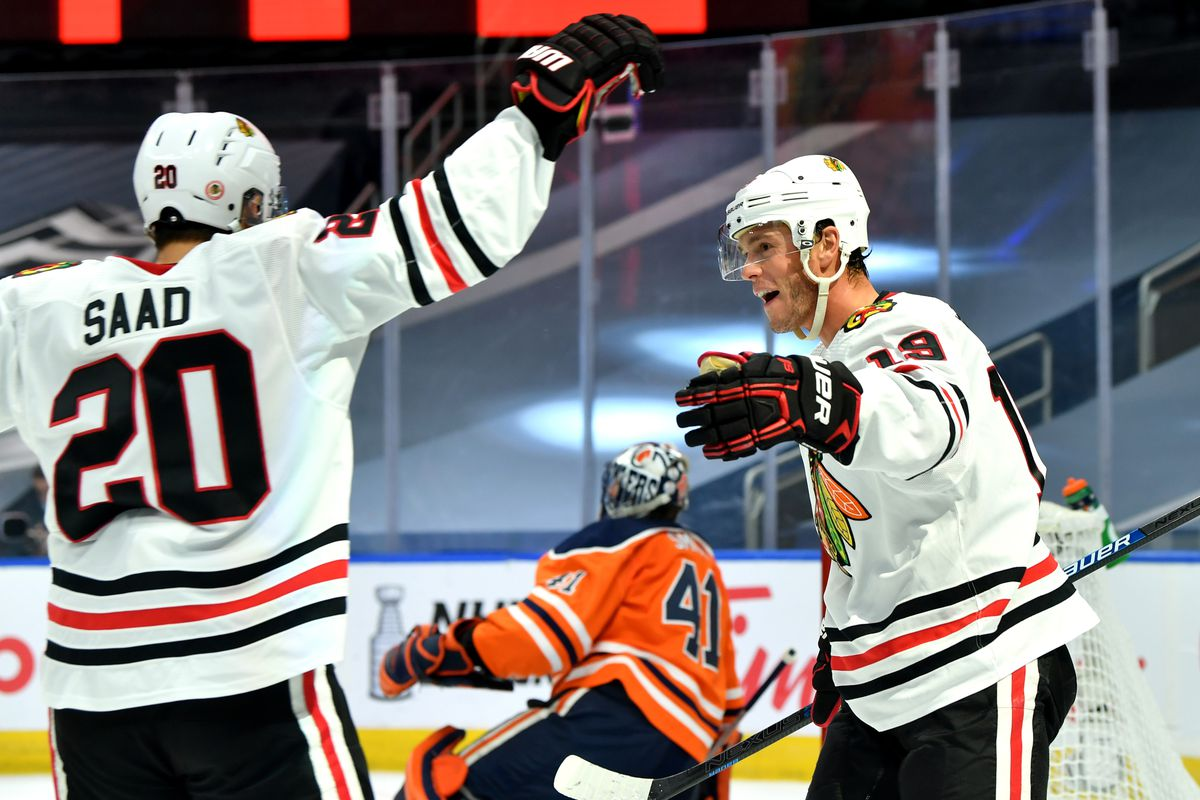 Blackhawks Top Line Dominance In Game 1 Vs Oilers Was Throwback To Past Playoff Performances Second City Hockey