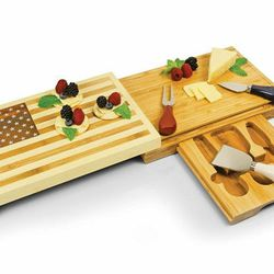 """This cutting board is compact to carry but expands to reveal plenty of space for all your provisions. <b>Picnic Time</b> Cutting Board with Cheese Tools in Old Glory American Flag, <a href=""""http://www1.macys.com/shop/product/picnic-time-cutting-board-old-"""