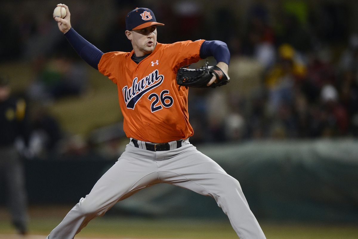 Auburn starting pitcher Dillon Ortman delivers to the plate during the Tigers' 6-3 win over Alabama on March 5.