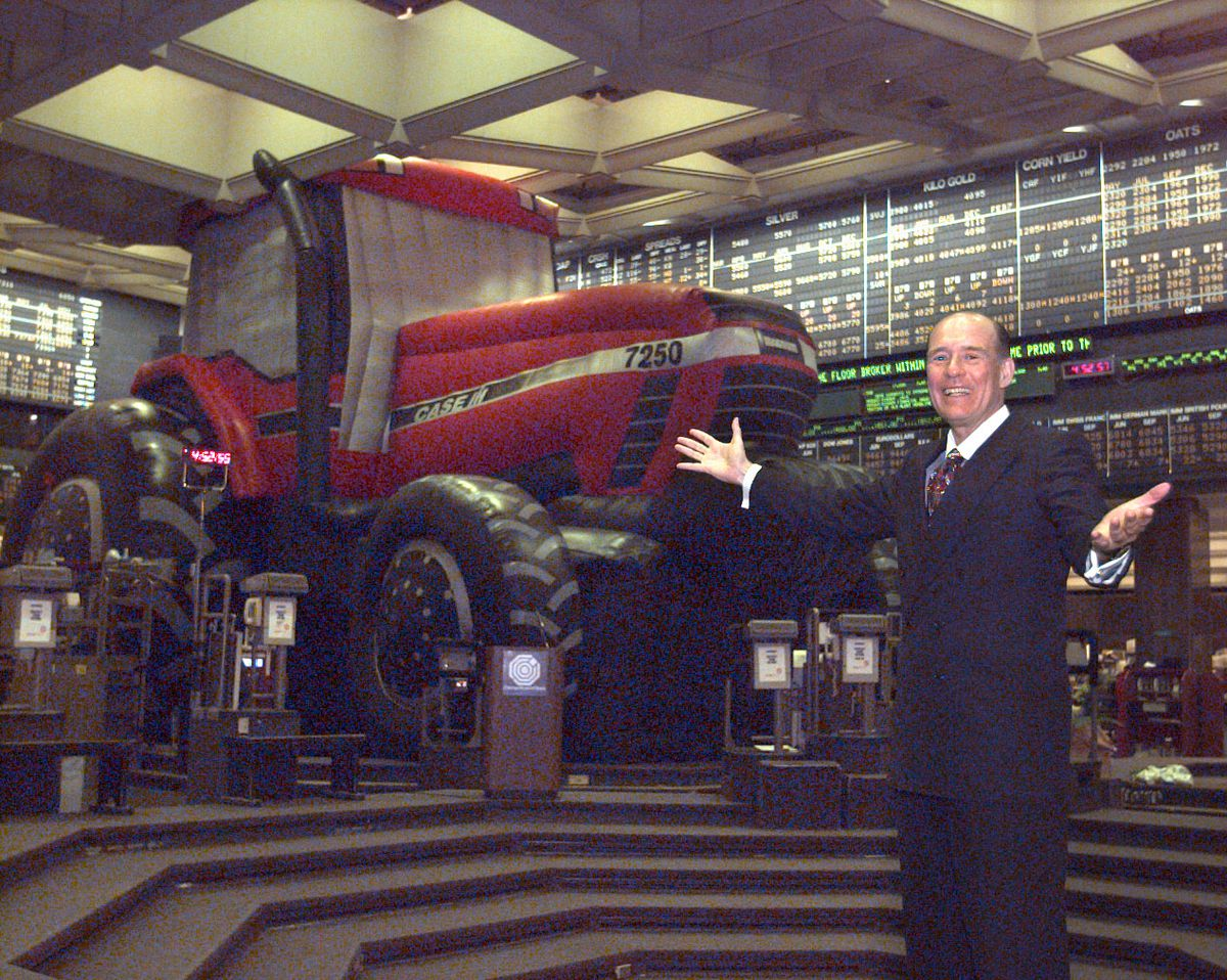 In March 1996, Patrick Arbor, then-chairman of the Chicago Board of Trade, shows off a huge, inflatable tractor on the trading floor during an Agriculture Day Benefit to raise money for charity. | Jon Sall / Sun-Times