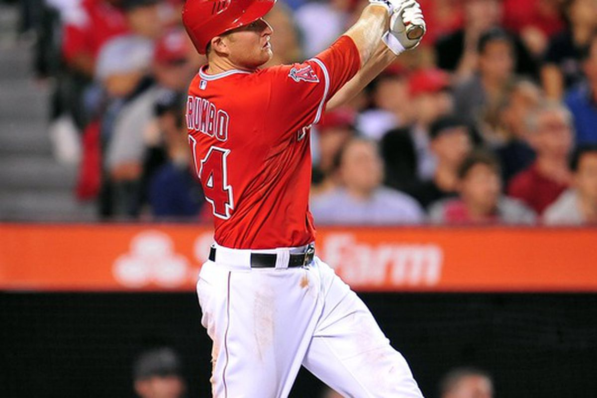 May 29, 2012; Anaheim, CA, USA; Los Angeles Angels third baseman Mark Trumbo (44) hits a solo home run in the sixth inning against the New York Yankees at Angel Stadium. Mandatory Credit: Gary A. Vasquez-US PRESSWIRE