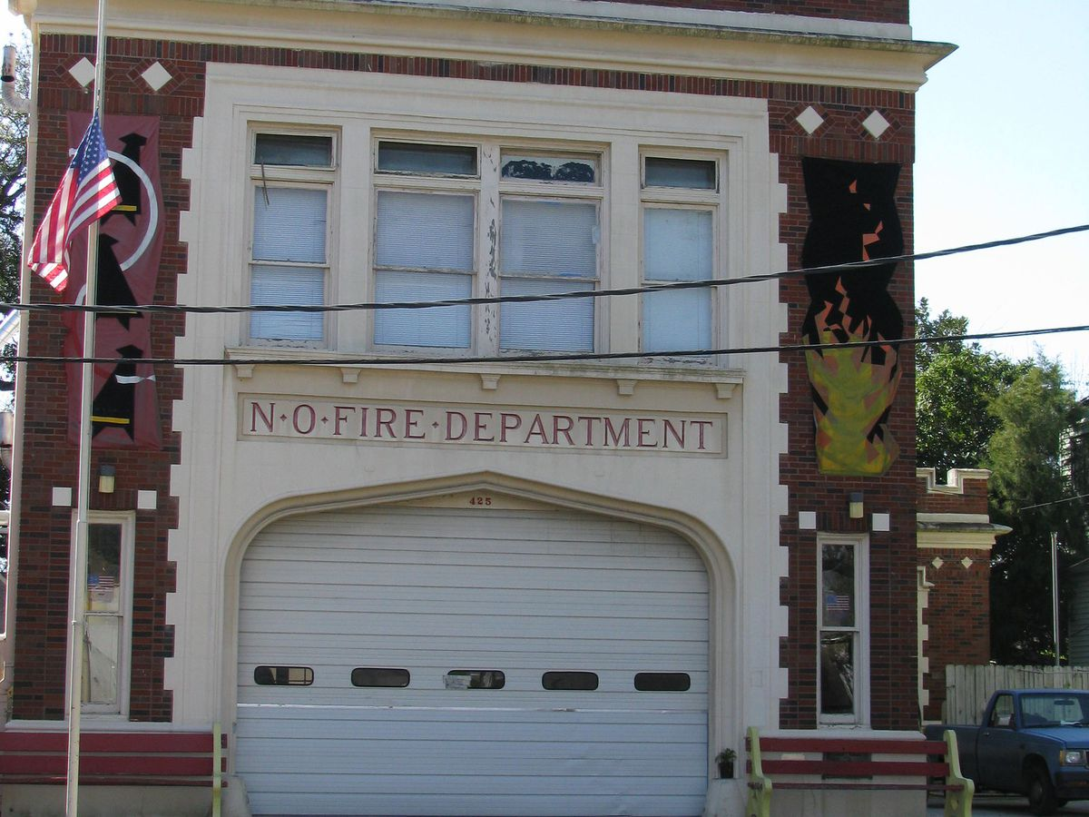 A Tudor brick fire station residence