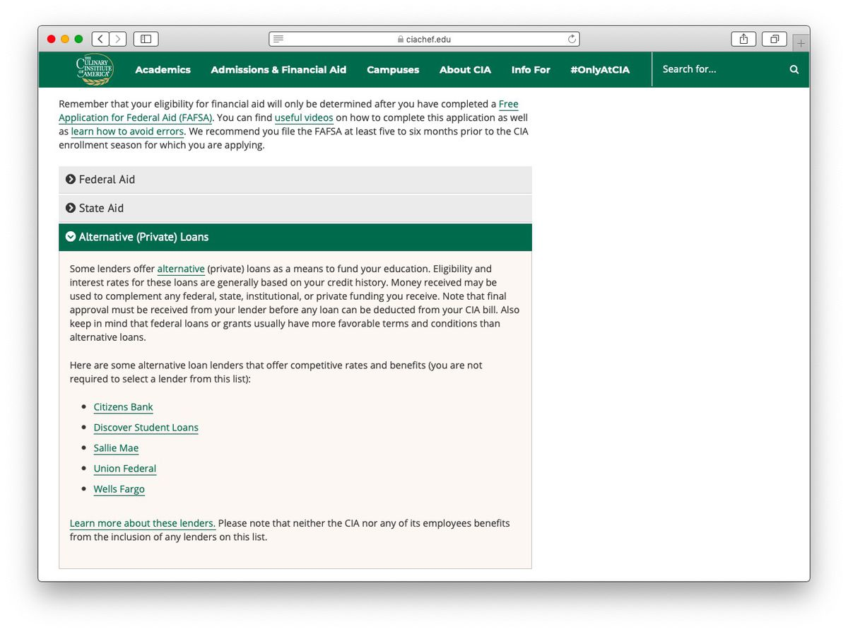 A screenshot of the financial aid page at the Culinary Institute of America, which suggests banks including Sallie Mae and Wells Fargo for private loans.
