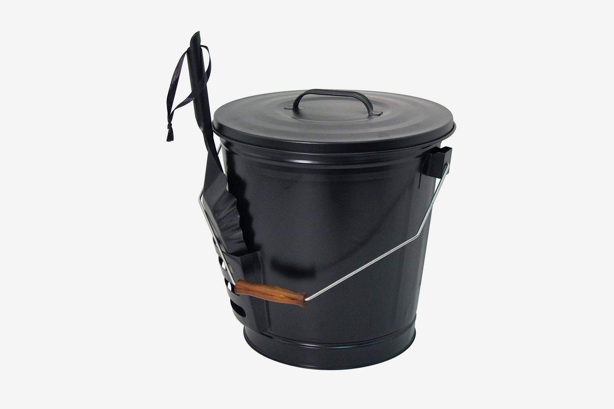 A black bucket and shovel