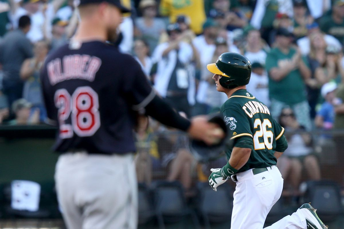 Oakland Athletics' Matt Chapman (26) rounds the bases after connecting for a career first, solo home run off Cleveland Indians starting pitcher Corey Kluber (28) in the third inning of their MLB game at the Coliseum in Oakland, Calif., on Saturday, July 1