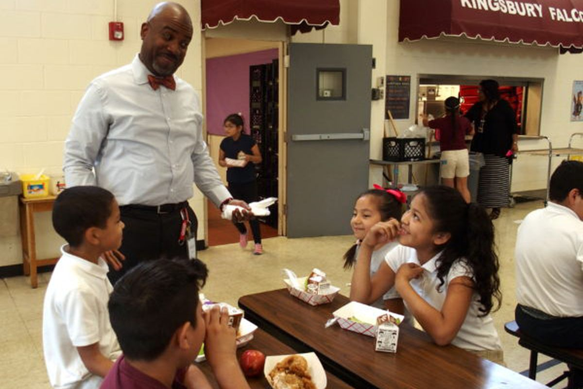 Principal Wynn Earle greets students at Kingsbury Elementary School during lunch most days.