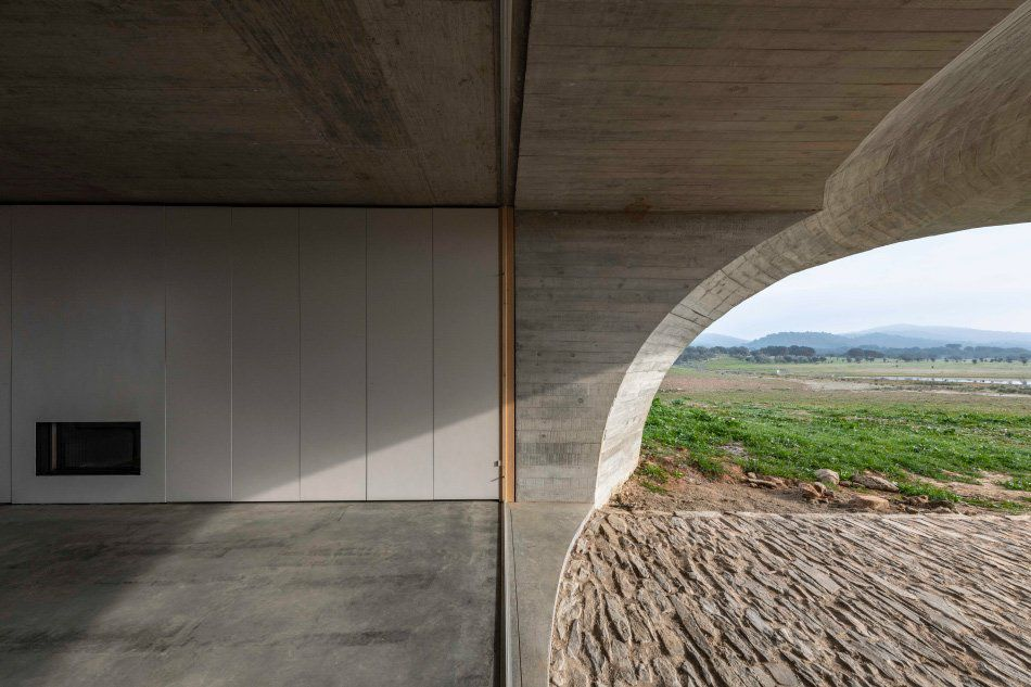 Open living space with cantilevering concrete canopy leading to outdoor space.