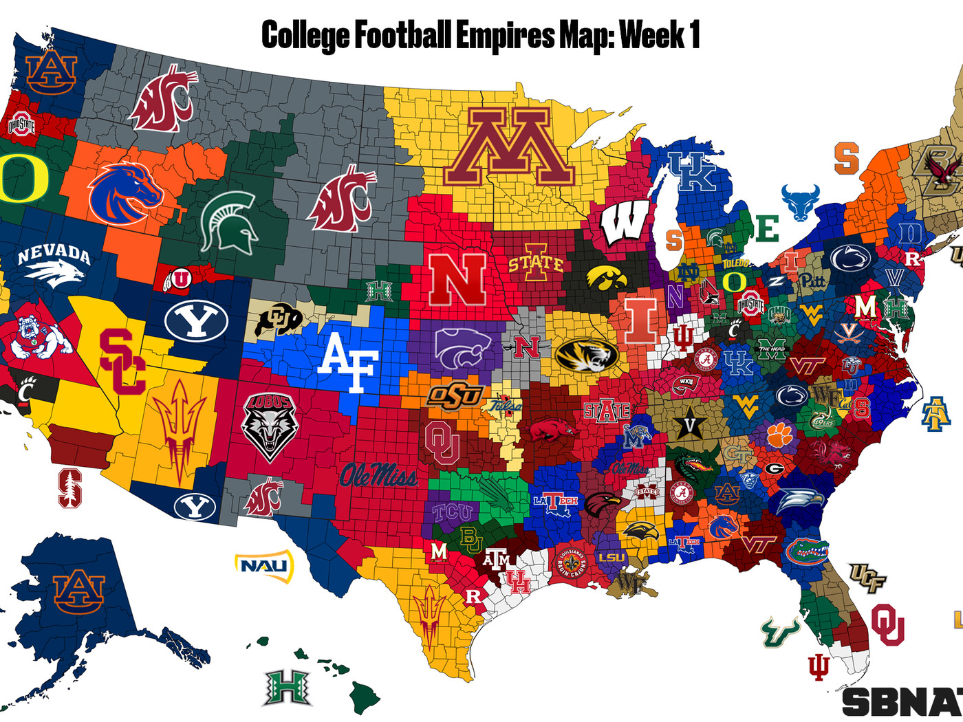 2018 College Football Empires Map Week 1 Sbnation Com