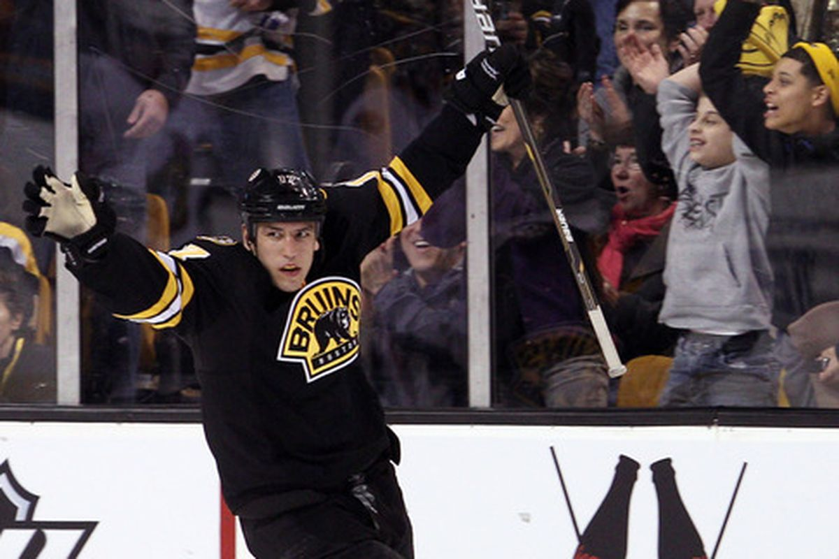 BOSTON, MA - JANUARY 31:  Milan Lucic #17 of the Boston Bruins celebrates his goal in the second period against the Ottawa Senators on January 31, 2012 at TD Garden in Boston, Massachusetts.  (Photo by Elsa/Getty Images)
