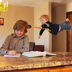 """Zac and William Lawrence are shown photographed in Alan Lawrence's series titled """"Wil Can Fly"""" that is featured on his blog, <a href=""""http://thatdadblog.com/"""">thatdadblog.com</a>"""