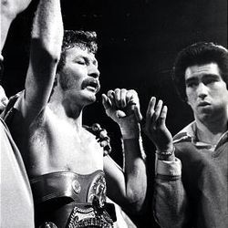 """Utah native Danny """"Little Red"""" Lopez successfully defended his featherweight title in 1979 by knocking out Roberto Castanon. Although Lopez, now 57, will be inducted into the Hall of Fame June 13, he works a construction job to support his family financially."""