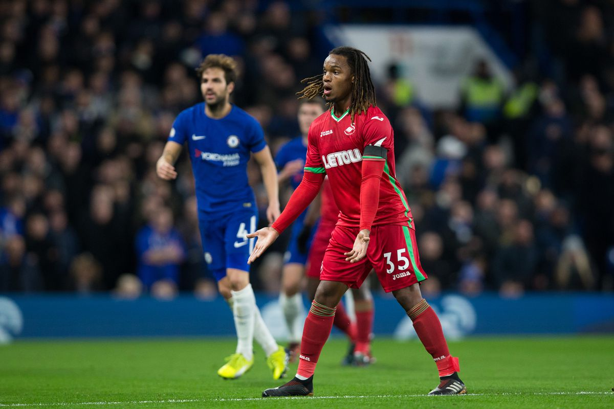 LONDON, ENGLAND - NOVEMBER 29: Swansea City's Renato Sanches during the Premier League match between Chelsea and Swansea City at Stamford Bridge on November 29, 2017 in London, England. (Photo by Craig Mercer - CameraSport via Getty Images)