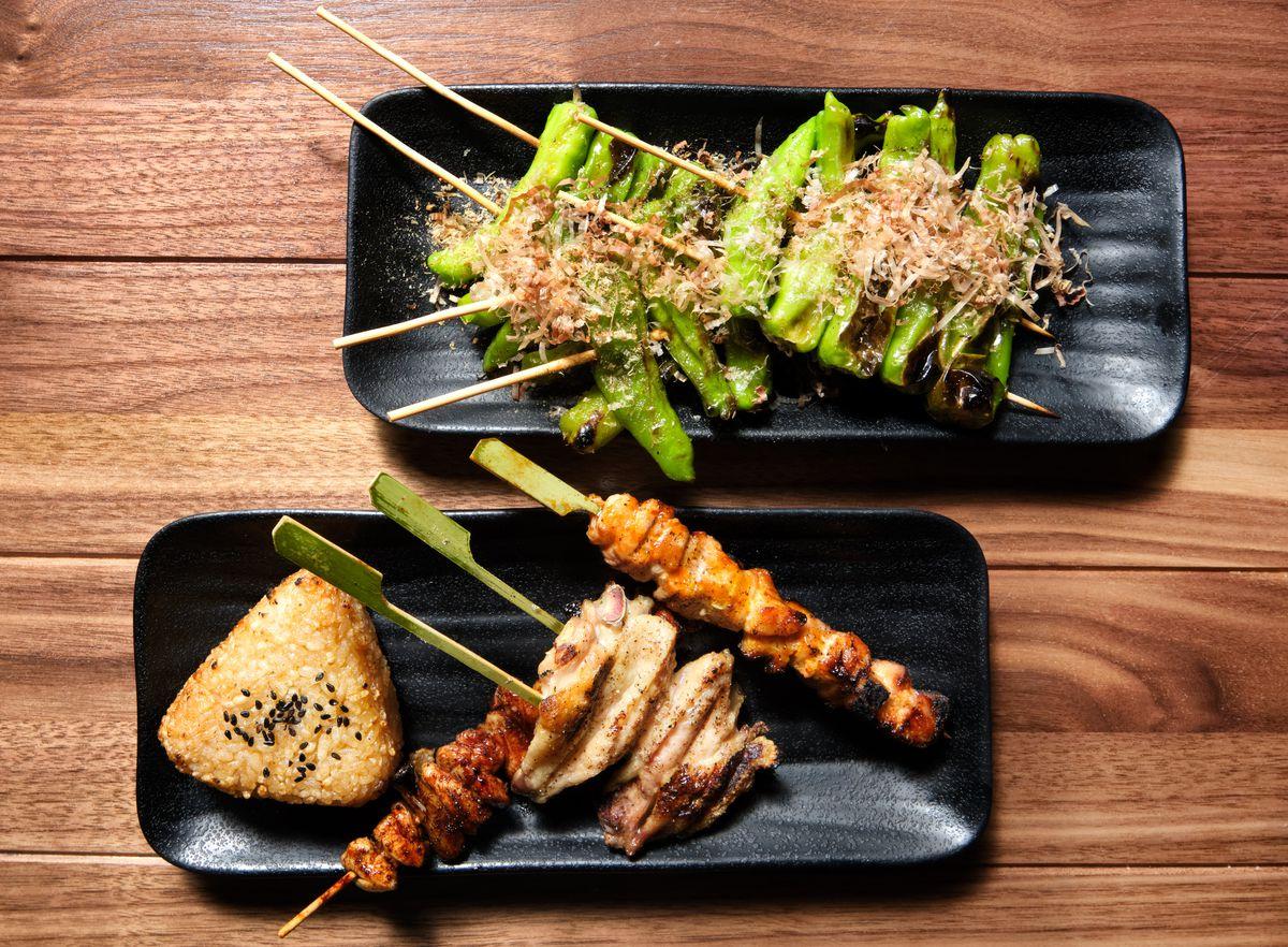 Shishito peppers, yaki onigiri with salmon, chicken breast, chicken wing, and pork belly Jidori