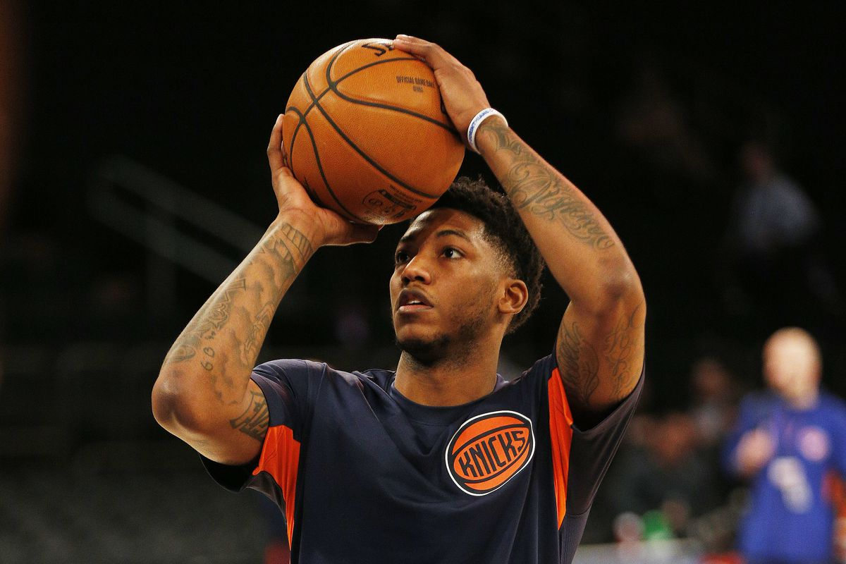 New York Knicks guard Elfrid Payton shoots during warmups prior to the game against the Washington Wizards at Madison Square Garden.
