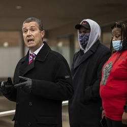 """Family and supporters of Tafara Williams listen as attorney Antonio Romanucci speaks during a press conference outside Waukegan's city hall complex, Tuesday morning, Oct. 27, 2020. Williams, 20, was wounded and her boyfriend, 19-year-old Marcellis Stinnette, was killed when they were both shot by a Waukegan police officer on Oct. 20. Three days after the incident, Waukegan Police Chief Wayne Walles announced that he had fired the officer, saying he'd committed """"multiple policy and procedure violations."""""""